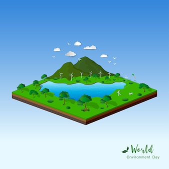 Isometric landscape with nature and eco friendly