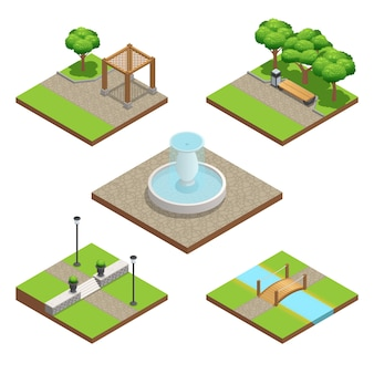 Isometric landscaping composition set with plants and wood and stone decoration elements