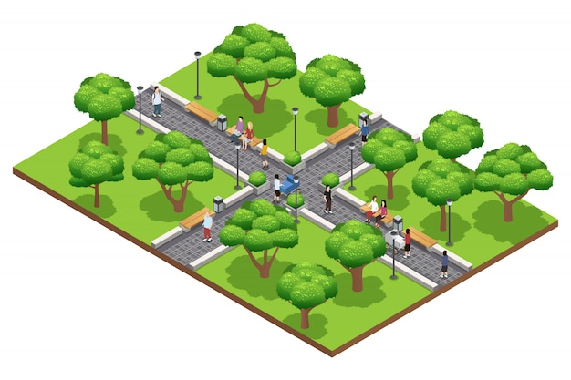 Isometric landscaping composition with people walking in green park in summer on white background ve