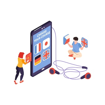 Isometric language center courses composition with people holding national flags and smartphone with headphones  illustration