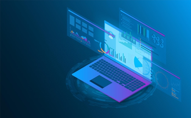 아이소 메트릭 노트북 분석 정보 미래형 컨셉 일러스트