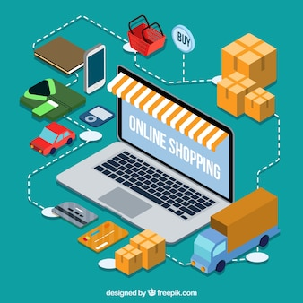 Isometric laptop background and online purchase