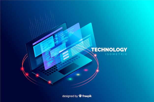 Isometric laptop background template
