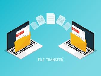 Isometric laptop file transfer vector
