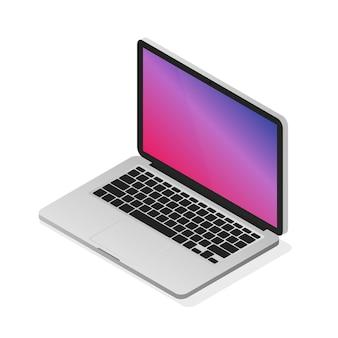 아이소 메트릭 노트북 그림입니다. 현대 현실적인 데스크톱 컴퓨터.
