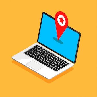Изометрические монитор ноутбука с навигацией по карте на экране. gps-навигатор с красной точкой на синем дисплее. векторная иллюстрация.