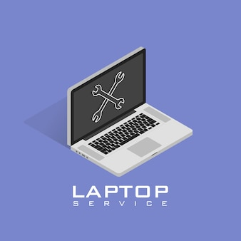 Изометрические значок ремонта ноутбука. сервис, обслуживание, настройка, восстановление концепций. плоский дизайн векторные иллюстрации