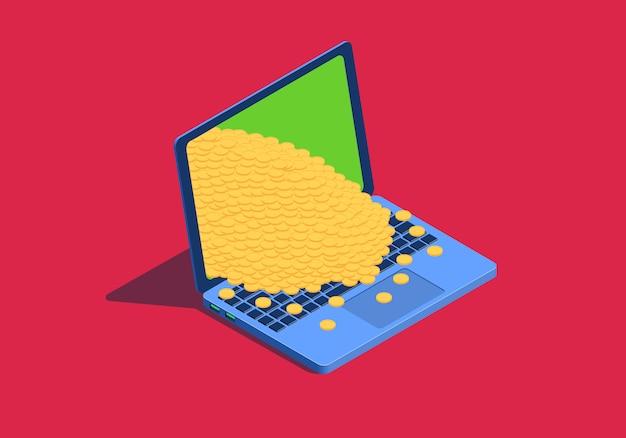 黄金のコインと等尺性のラップトップ。