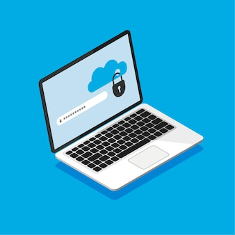 Isometric laptop with locked cloud storage on screen. file protection, data security and privacy