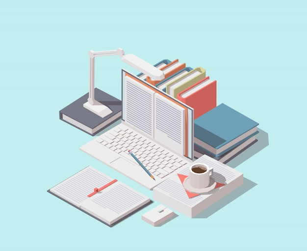 Isometric laptop with opened book on screen, books, documents and cup of coffee