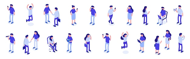 Isometric a large set of people. male and female characters. vector illustration.