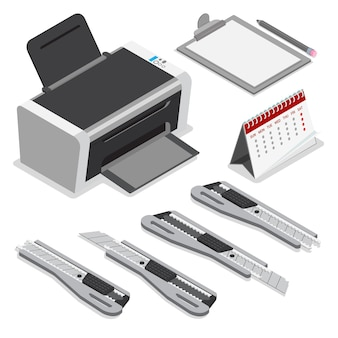 Isometric laser ink printer clipboard calendar office paper knife pencil set.