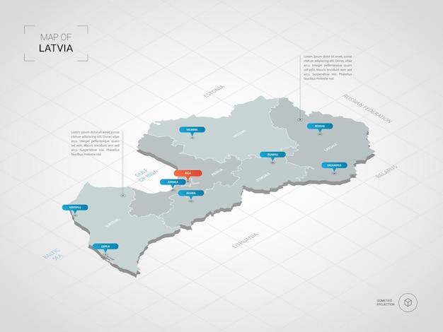 等尺性ラトビアマップ。都市、国境、首都、行政区画、ポインターマークのある定型化された地図のイラスト。グリッドとグラデーションの背景。