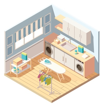 Isometric laundry or dry cleaning washing machines