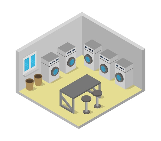 Isometric laundry room