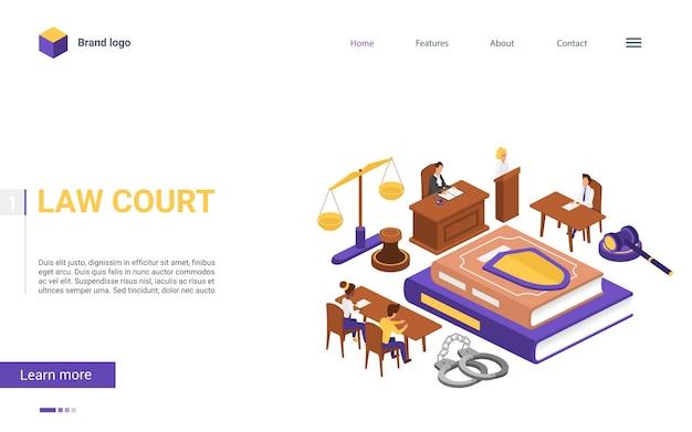 Изометрические суды мультфильм 3d концепция целевой страницы
