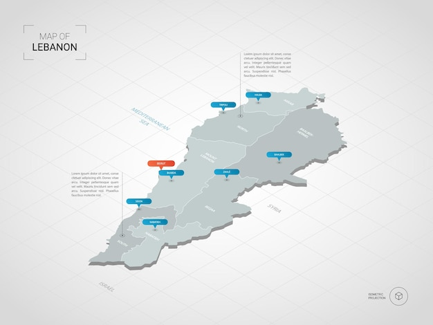 Isometric   lebanon map. stylized  map illustration with cities, borders, capital, administrative divisions and pointer marks; gradient background with grid.