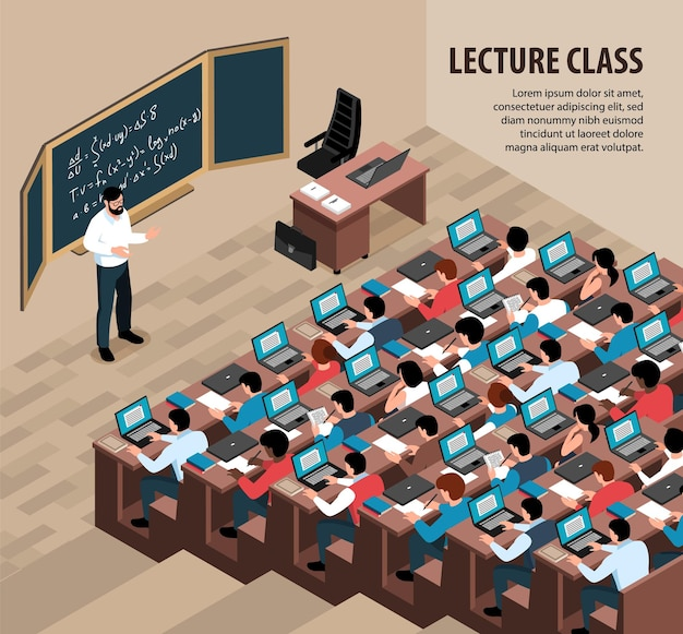 Isometric lecture class illustration with indoor scenery professor in front of blackboard and students with laptops