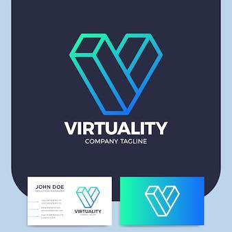 Изометрическая буква v дизайн логотипа шаблон виртуальная реальность логотип графический киберпространство