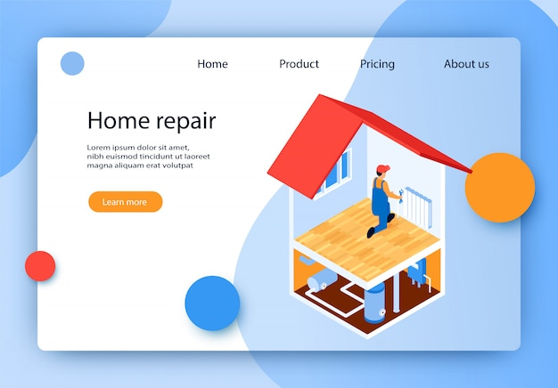 Isometric lettering home repair landing page.