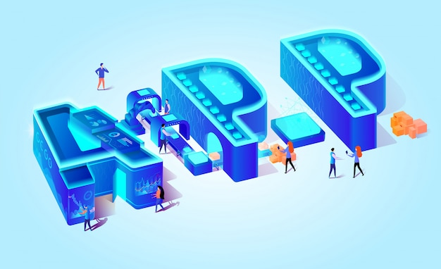 Isometric letters app on blue gradient background.