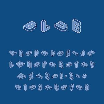 Изометрические буквы, цифры и знаки в разных направлениях с белым тонким контуром линии на классическом синем