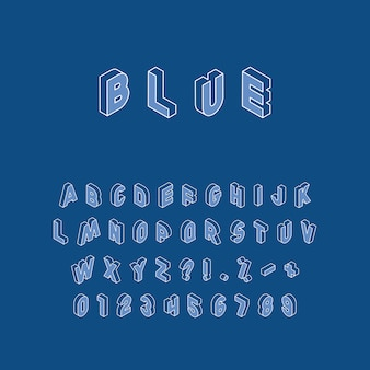 Isometric letters, numbers and signs in different directions with white thin line contour on trendy classic blue background. vintage  alphabet in trendy colors easy to edit and customize.
