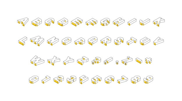 Isometric letters, numbers and signs with yellow elements on white background. trendy vintage  alphabet