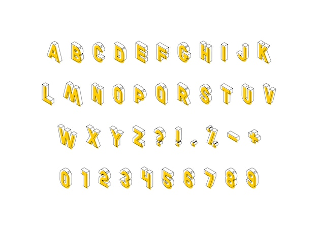 Isometric letters with yellow elements on white background
