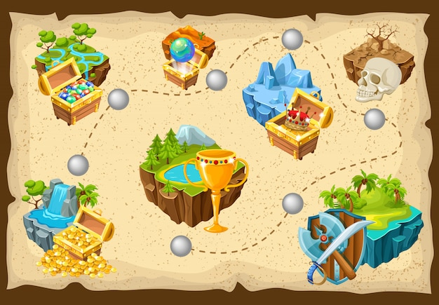 Isometric levels game islands composition