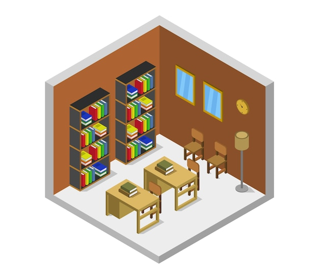 Isometric library room