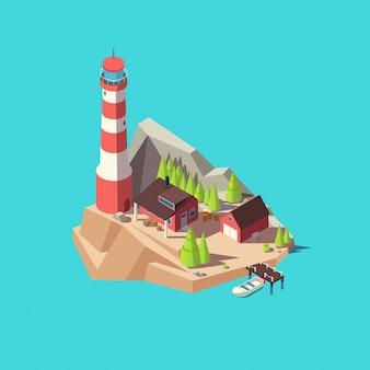 等尺性灯台。タワーと家、木と海でのボートの島。 3 d灯台タワーベクトル図