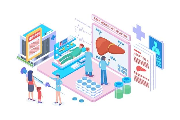 Isometric liver medical center concept