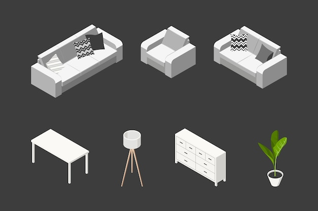 Isometric living room concept. set of furniture in scandinavian style.