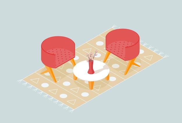 花瓶とカーペットの椅子テーブルの花と等尺性のリビングルームのコーナー
