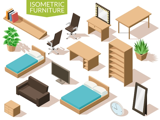 Isometric living room furniture in light brown range with beds office chair table tv mirror wardrobe plants and others elements of interior on a white background with shadows.