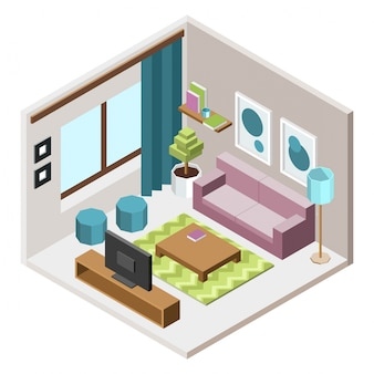 Isometric living room inetrior design