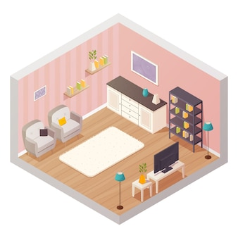 Isometric living room interior design composition with cartoon icons
