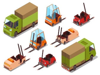 Isometric loader trucks isolated icons of warehouse forklift trucks and logistics