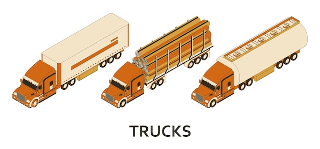 Isometric logging, tank and cargo trucks with cab.