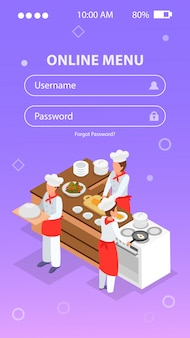 Isometric login form with people cooking in restaurant kitchen 3d vector illustration