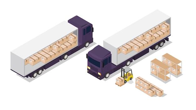 等尺性のロジスティック構成。貨物トラックとフォークリフトのイラスト。