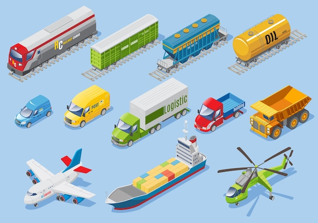 Isometric logistic transportation set with car van trucks airplane ship helicopter freight train wagons oil tank isolated