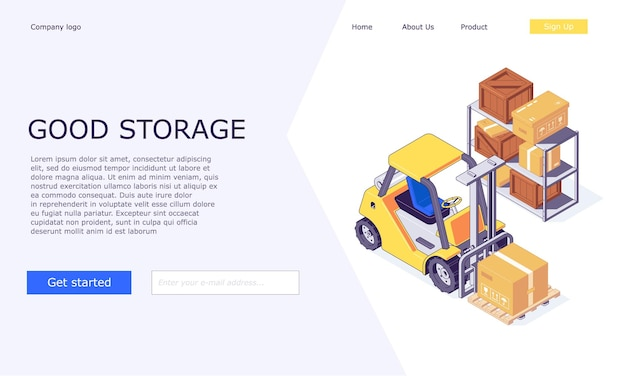 Isometric logistic warehouse boxes on forklifts templates design