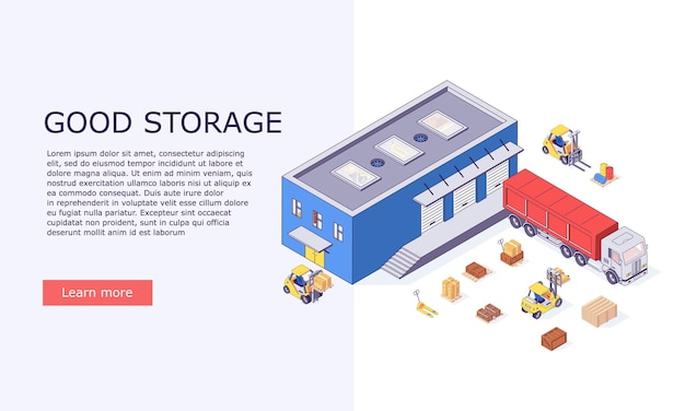 Isometric logistic warehouse invertory boxes and trucks banner illustration