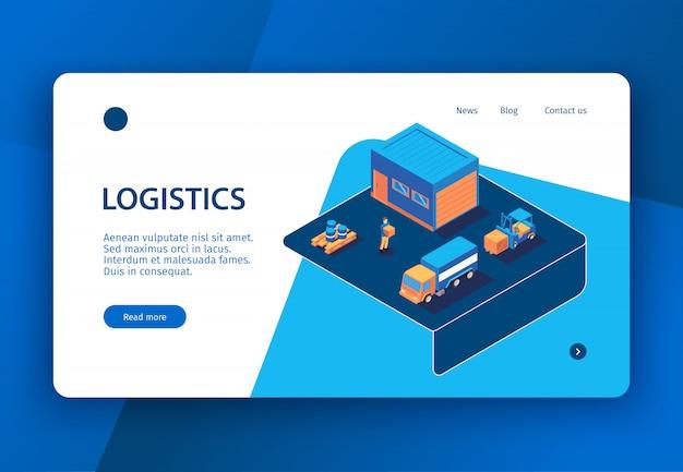 La pagina di atterraggio isometrica dell'insegna di concetto di logistica con i collegamenti cliccabili manda un sms a e le immagini dell'illustrazione di vettore degli elementi dell'infrastruttura di consegna