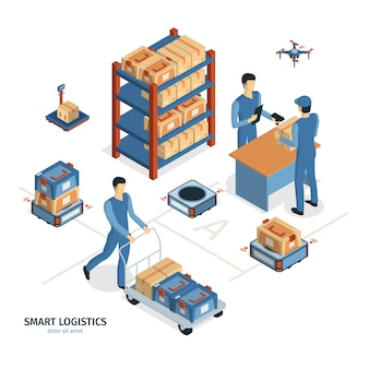 Isometric logistics delivery composition with images of shelves parcel boxes and human characters of workers vector illustration
