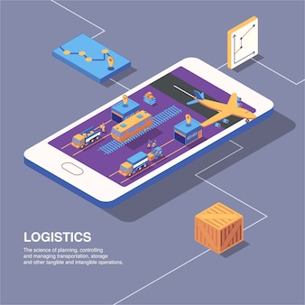 Isometric logistics delivery composition with phone image graphs icons of transport and parcel boxes with text vector illustration