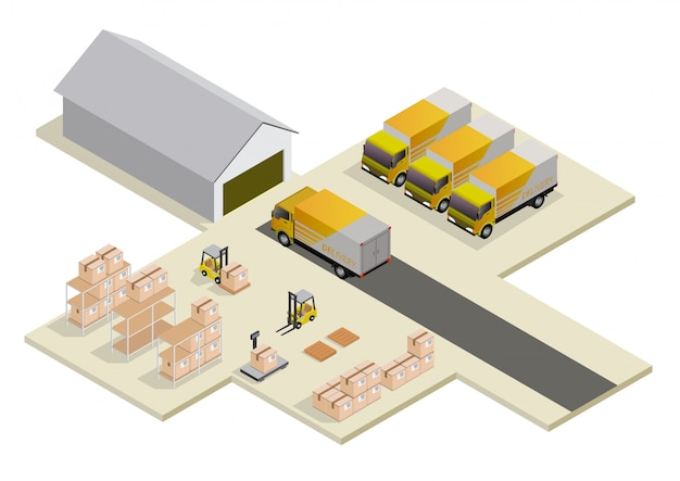 Isometric logistics and delivery concept.