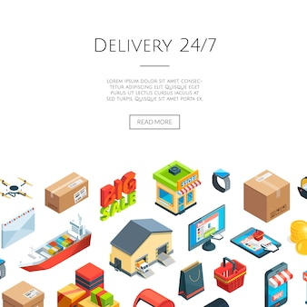 Isometric logistics and delivery icons. 3d internet commerce